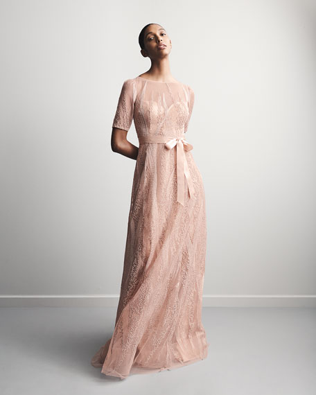 Image 2 of 3: Rickie Freeman for Teri Jon Embroidered Tulle Elbow-Sleeve Gown