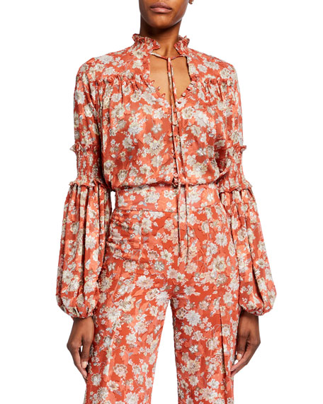 Alexis Zaria Floral Button-Front Long-Sleeve Top