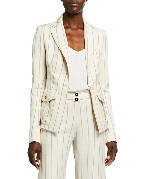 Alexis Enos Striped Single-Button Jacket