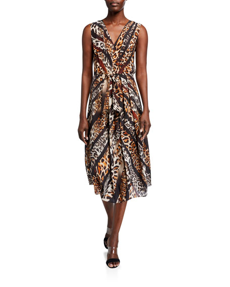 Image 1 of 2: Kobi Halperin Beverly Animal-Print Sleeveless Midi Dress