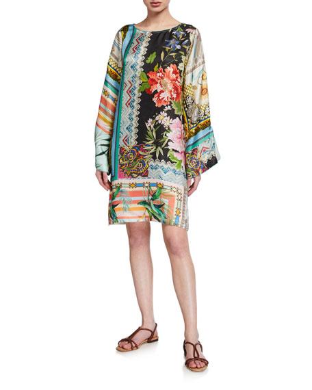 Johnny Was Island Print Flare-Sleeve Silk Twill Dress