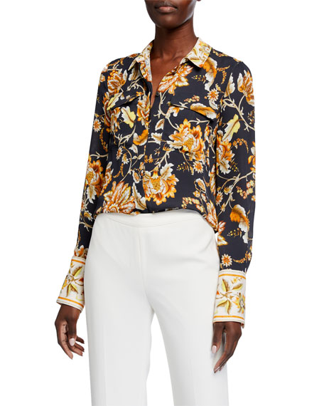 Kobi Halperin Alisa Floral-Print Silk Button-Down Blouse