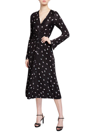 Rotate Birger Christensen Number 7 Pleated Long-Sleeve Cocktail Dress