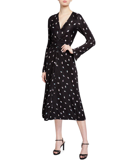 Image 1 of 2: Rotate Birger Christensen Number 7 Pleated Long-Sleeve Cocktail Dress