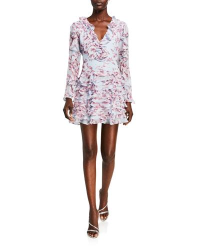 Lianna Printed Long-Sleeve Frill Dress