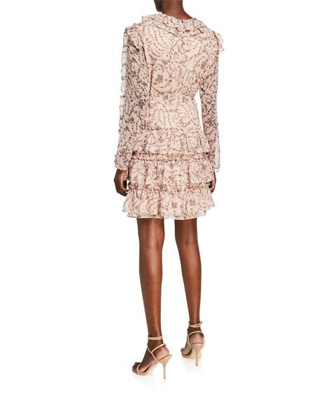 Bardot Alessia Tiered Long-Sleeve Frill Dress