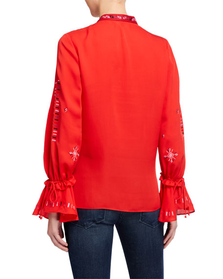 Image 2 of 2: Kobi Halperin Junie V-Neck Bell-Sleeve Silk Blouse
