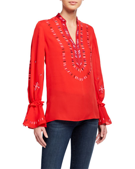 Image 1 of 2: Kobi Halperin Junie V-Neck Bell-Sleeve Silk Blouse