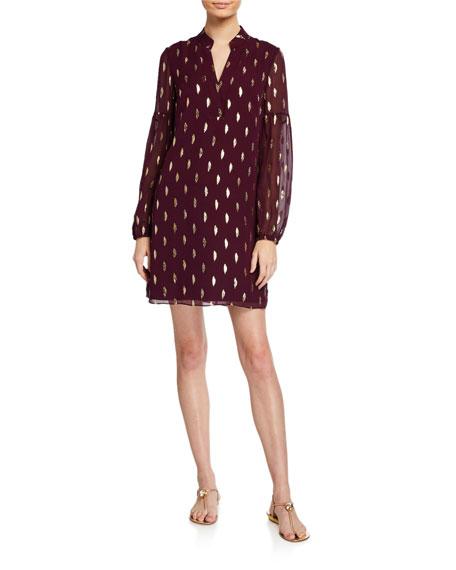 Lilly Pulitzer Shea Metallic Blouson-Sleeve Silk Shift Dress