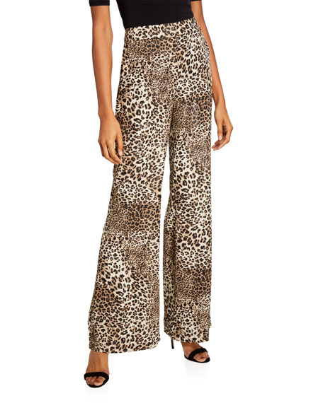 Etienne Marcel Animal-Print Wide-Leg Pants