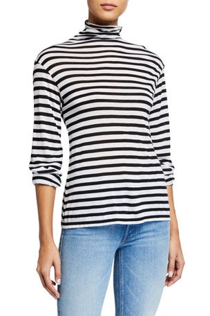 ATM Anthony Thomas Melillo Striped Long-Sleeve Turtleneck Top