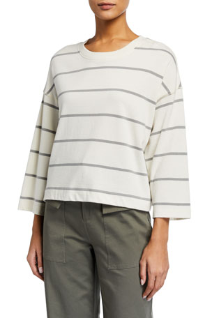 ATM Anthony Thomas Melillo Plaited Jersey Striped Sweatshirt