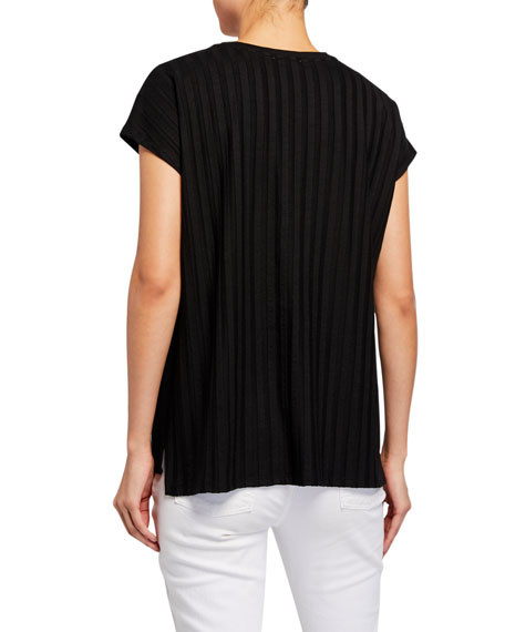 Eileen Fisher Wide Rib Crewneck Lyocell Top