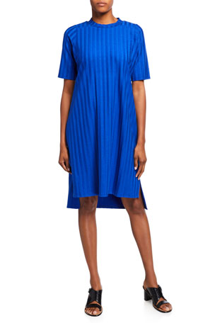 Eileen Fisher Petite Wide Rib Mock-Neck Elbow-Sleeve Dress