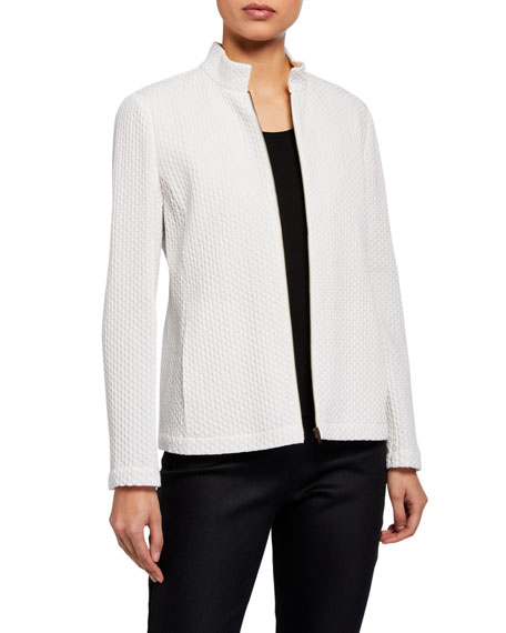 Eileen Fisher Honeycomb Stand Collar Zip-Front Jacket