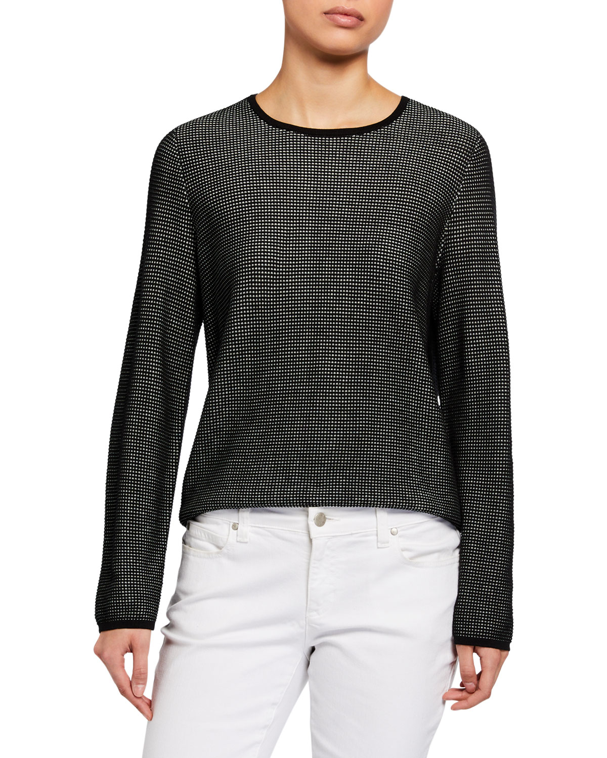 Eileen Fisher Silk/Organic Cotton Long-Sleeve Sweater