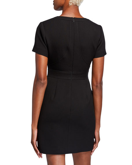 Toccin Zip Front Short-Sleeve Mini Dress