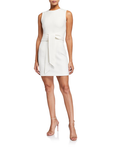 Sleeveless Tie-Front Mini Sheath Dress