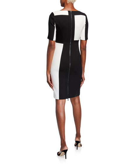 Toccin Colorblock Short-Sleeve Sheath Dress