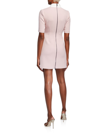 Toccin Colorblock Tie-Neck Mini Dress