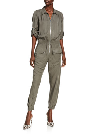 ATM Anthony Thomas Melillo Washed Satin Long-Sleeve Utility Jumpsuit