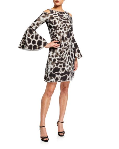 Chiara Boni La Petite Robe Adut Printed Cold-Shoulder Bell-Sleeve Dress