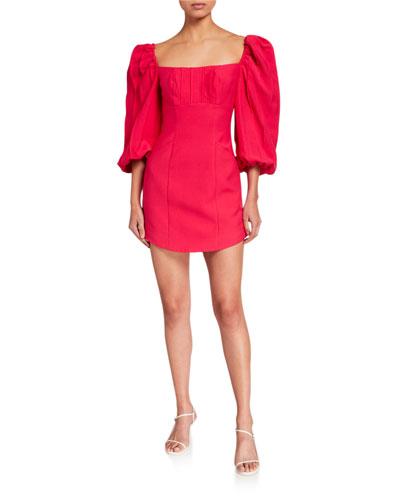 Over Again Puff-Sleeve Mini Dress