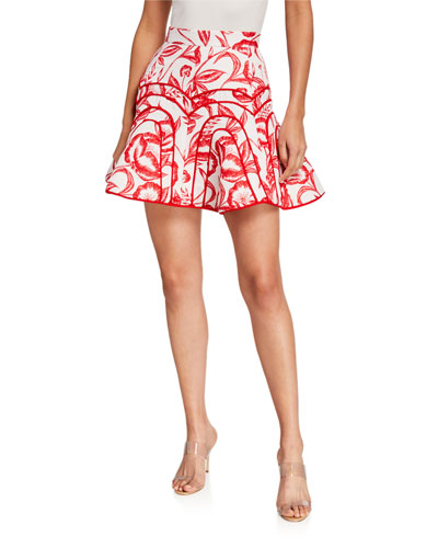 White Lie Floral-Print Skirt