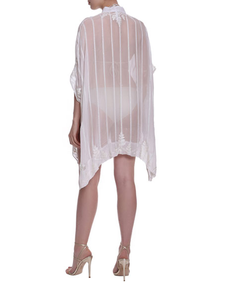 Flora Bella Amansara Striped Sheer Coverup w/ Embroidery