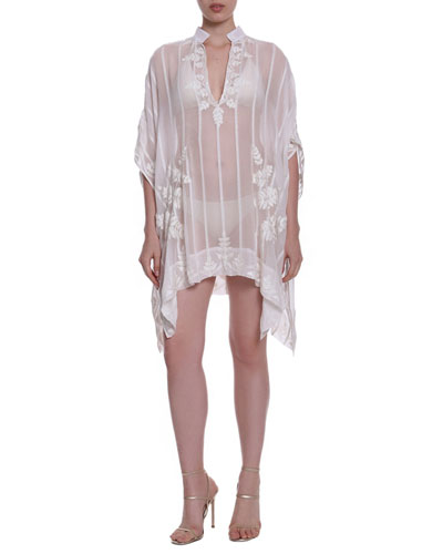 Amansara Striped Sheer Coverup w/ Embroidery