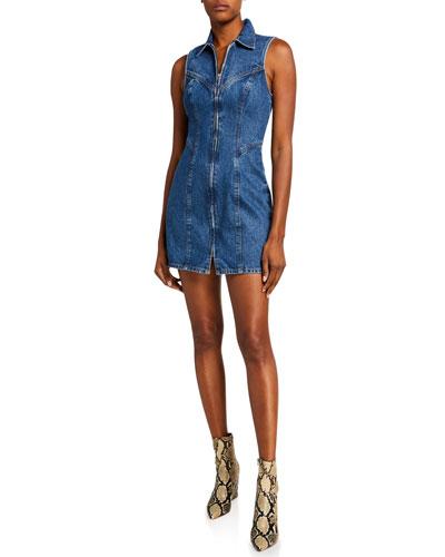 Colette Zip-Front Sleeveless Denim Dress