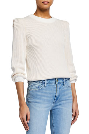 FRAME Chunky 3/4-Sleeve Sweater
