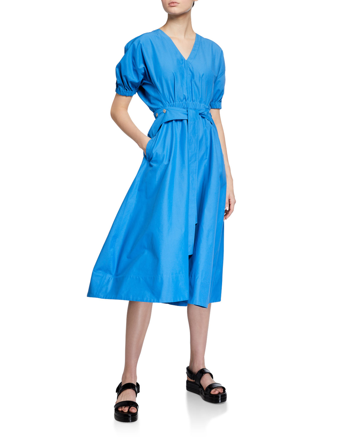 3.1 Phillip Lim Utility Belted Dress with Gathered Detail