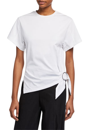 3.1 Phillip Lim Short-Sleeve T-Shirt w/ Gathered Ring Detail