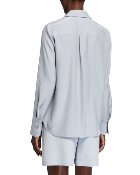 Image 2 of 2: Lafayette 148 New York Adams Matte Silk Blouse