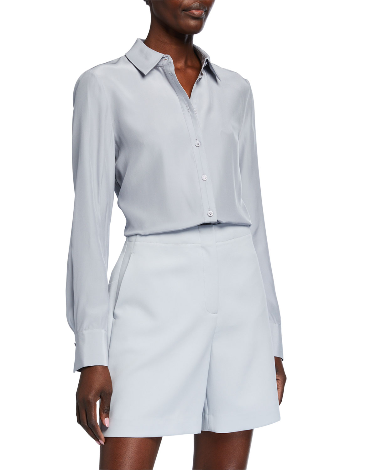 Lafayette 148 New York Adams Matte Silk Blouse