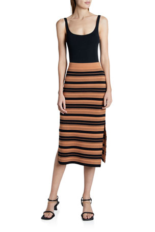 Proenza Schouler White Label Compact Striped Midi Skirt