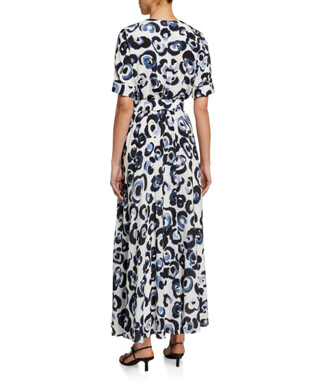Lafayette 148 New York Agneta Painterly Animal-Print Dress