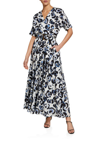 Lafayette 148 New York Agneta Painterly Animal-Print Dress