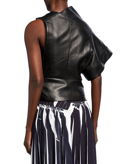 Image 2 of 2: 3.1 Phillip Lim Leather Asymmetric Gathered O-Ring Top