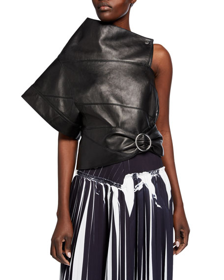 Image 1 of 2: 3.1 Phillip Lim Leather Asymmetric Gathered O-Ring Top