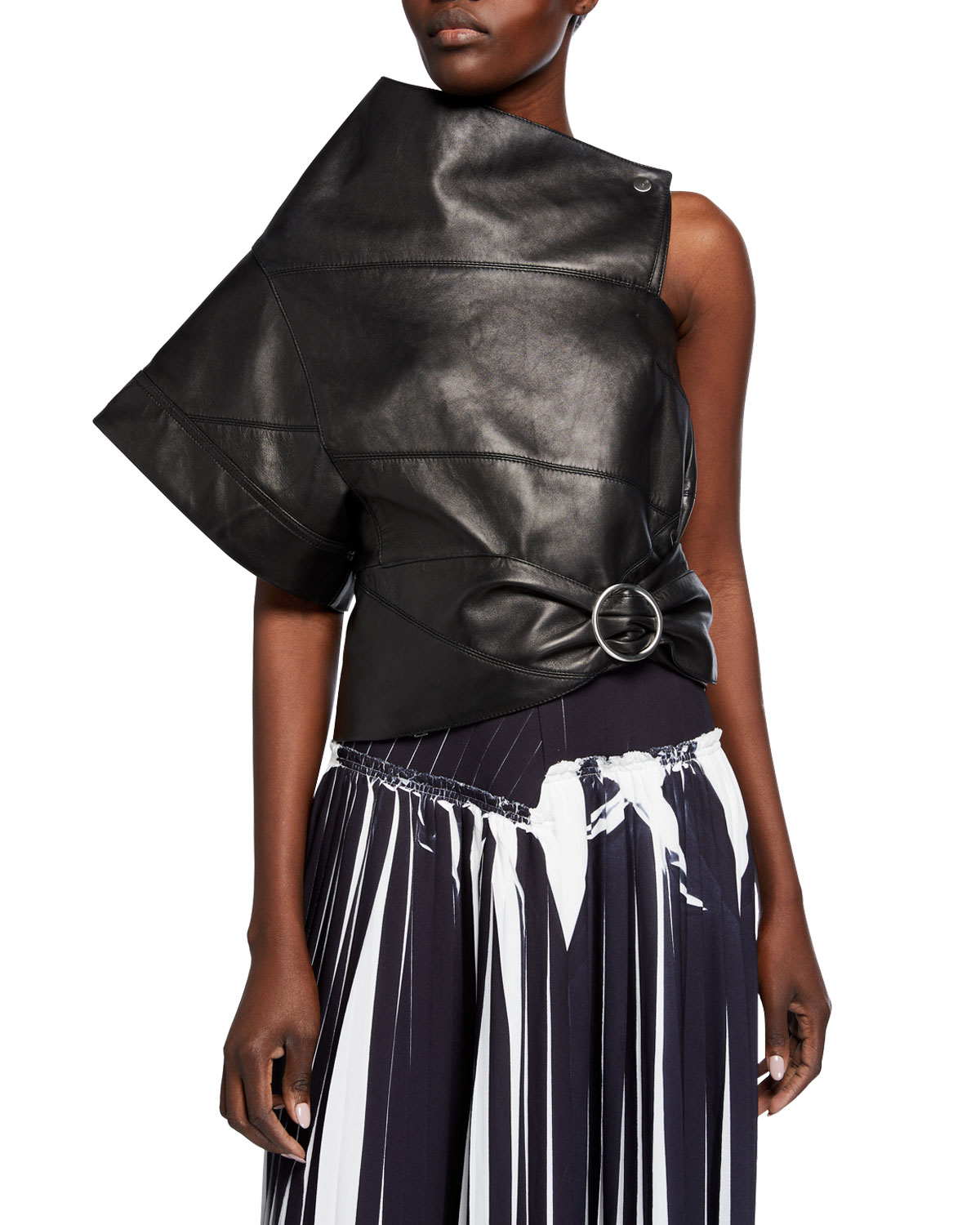 3.1 Phillip Lim Leather Asymmetric Gathered O-Ring Top