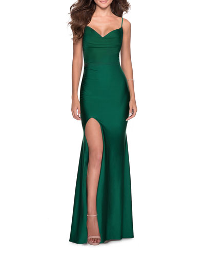 V-Neck Jersey Gown with Lace-Up Corset Back