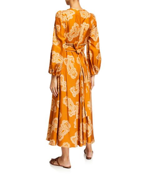 Zimmermann Wavelength Waist-Tie Midi Dress