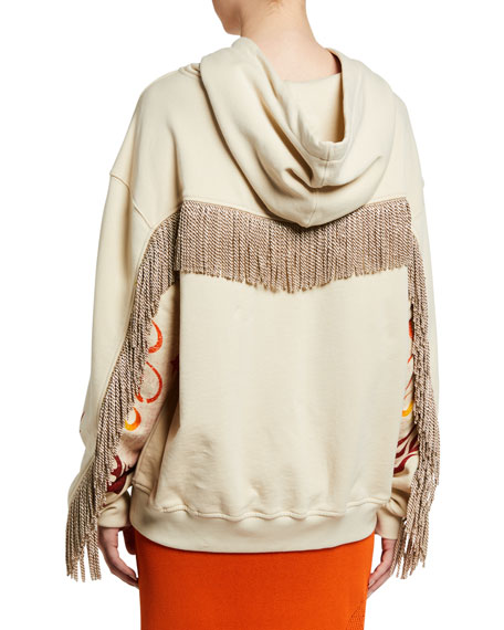 PINKO Embellished Graphic Hoodie with Fringe