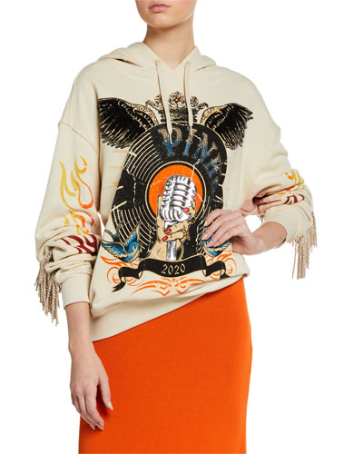 Embellished Graphic Hoodie with Fringe