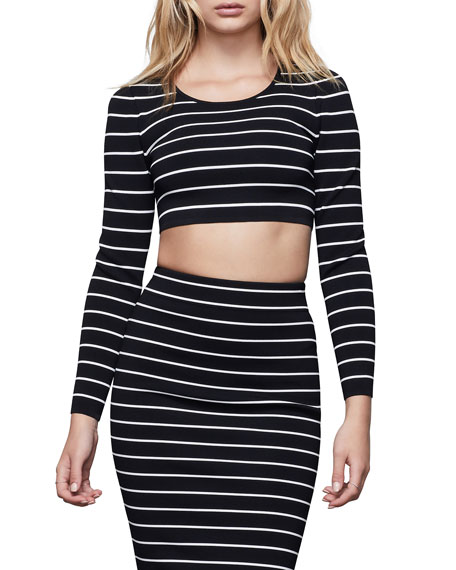 Image 1 of 4: Good American Long-Sleeve Striped Crop Top - Inclusive Sizing