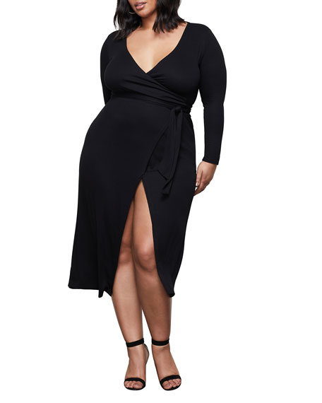 Image 2 of 4: Good American Solid Long-Sleeve Wrap Dress - Inclusive Sizing