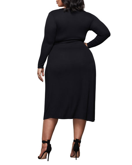 Image 4 of 4: Good American Solid Long-Sleeve Wrap Dress - Inclusive Sizing