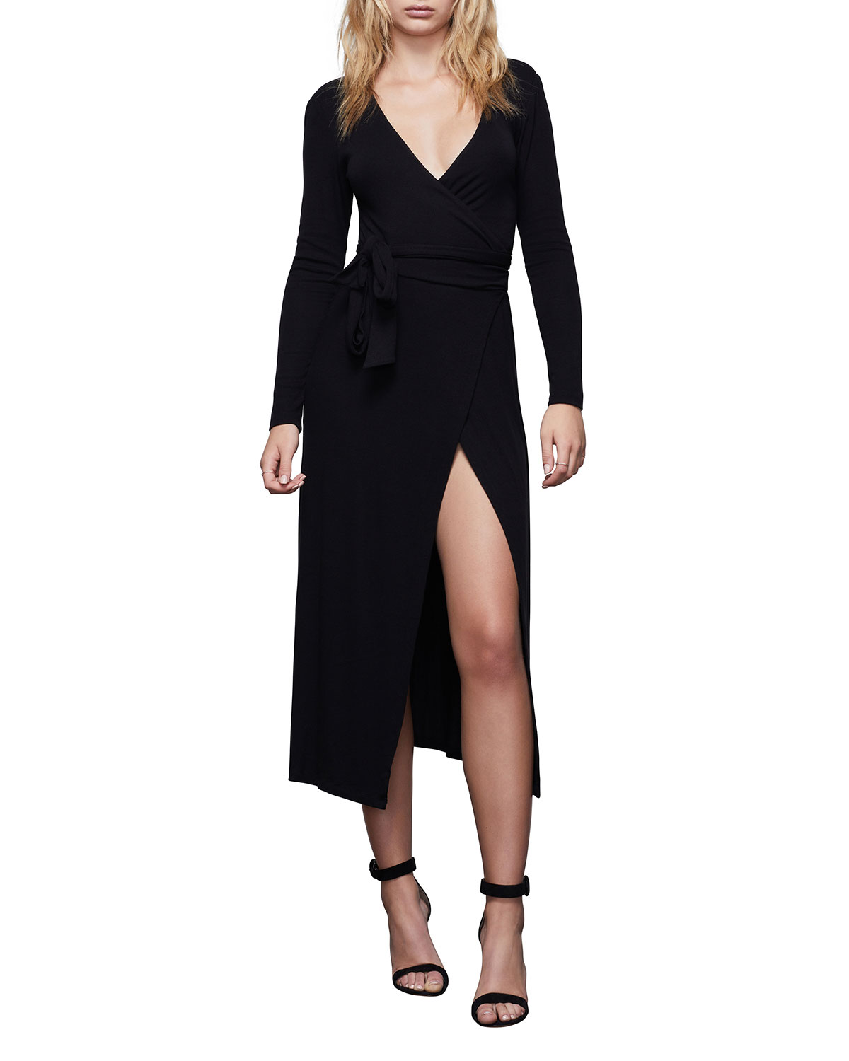 Good American Solid Long-Sleeve Wrap Dress - Inclusive Sizing
